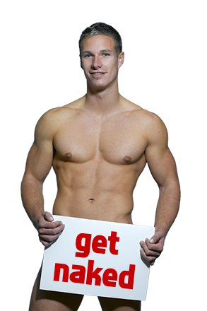 picture of a fit naked guy holding a sign that says party naked